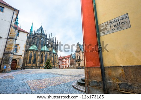 View on St. Vitus Cathedral and St. George's Square in Prague Castle from Jirska street. Prague, Czech Republic. - stock photo