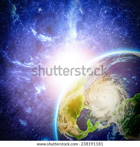 view on storm in Caribbean sea from space. Elements of this image furnished by NASA - stock photo