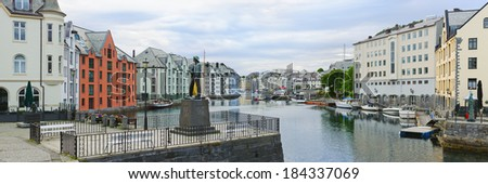 view on streets and houses at city of Alesund , Norway, panorama - stock photo