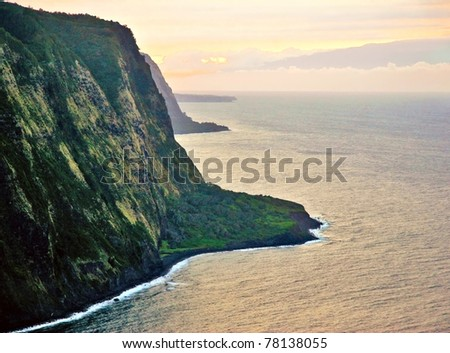 View on sunset in the ocean. Big island. Hawaii - stock photo