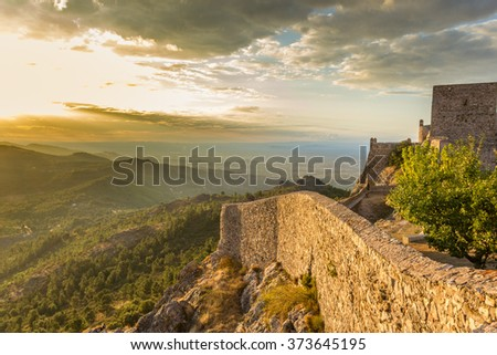 View on surroundings from the walls of Marvao castle with sunset on the background, Portugal