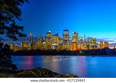 View on Sydney skyline at night, long exposure - stock photo