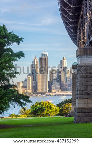 View on Sydney skyline under the harbour bridge - stock photo