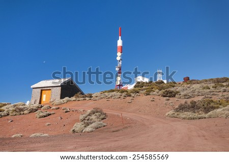 View on Teide Observatory and volcano Teide behind. Canary Islands. Spain - stock photo