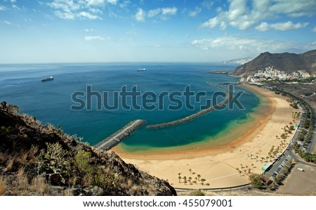 View on Teresitas beach near Santa Cruz de Tenerife on Canary Islands, Spain