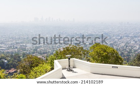 View on the air polution of Los Angeles on a sunny day in the morning - stock photo