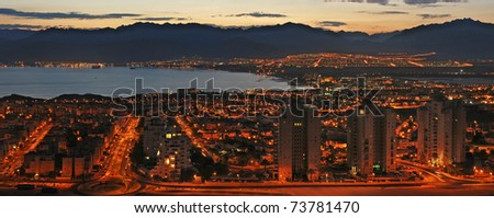 View on the Aqaba gulf and Eilat city at the early morning, Israel - stock photo