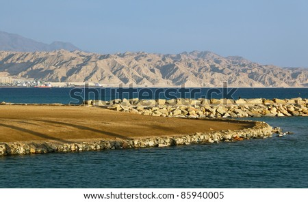 View on the Aqaba gulf and jordanian mountains of Israel - stock photo