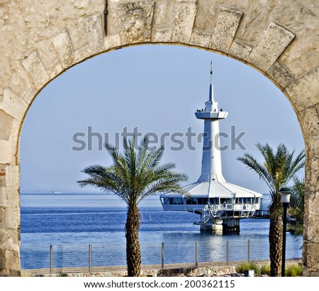View on the Aqaba gulf and marine underwater observatory, Eilat, Israel - stock photo