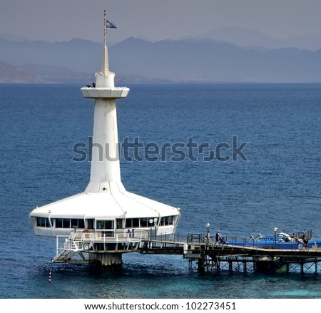 View on the Aqaba gulf and underwater observatory, Eilat, Israel - stock photo