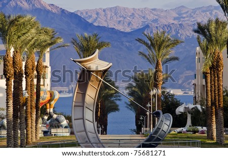 View on the Aqaba gulf from a park of Eilat city, Israel - stock photo