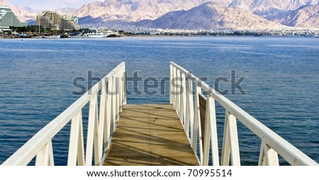 View on the Aqaba gulf from swimming bridge, Eilat, Israel - stock photo