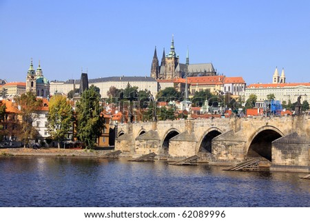 View on the autumn Prague gothic Castle with the Charles Bridge - stock photo