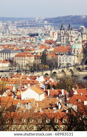 View on the autumn Prague historical city of Czech Republic