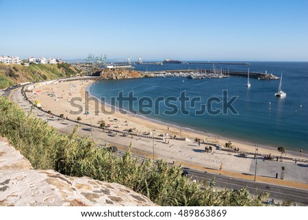 View on the beach and harbour of Sines, Portugal