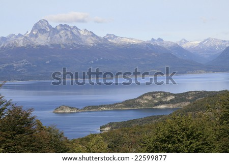 View on the Beagle Channel in National Park Tierra del Fuego in Ushuaia, Argentina - stock photo