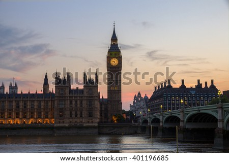 View on the Big Ben and the Palace of Westminster in London at sunset - stock photo