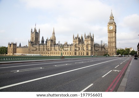 View on the Big Ben. Half blured with Lens Baby. - stock photo