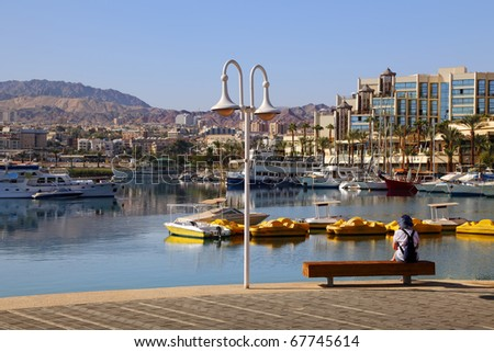 View on the boats in marina of Eilat city (Red sea. Israel) - stock photo