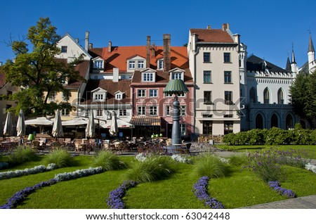 view on the center square of Riga city - stock photo
