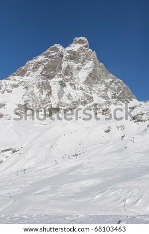 view on the cervino mountain - stock photo