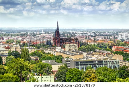 View on the city and the church, Wroclaw Poland