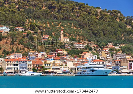 View on the city of Zakynthos in the harbor in summer, Greece