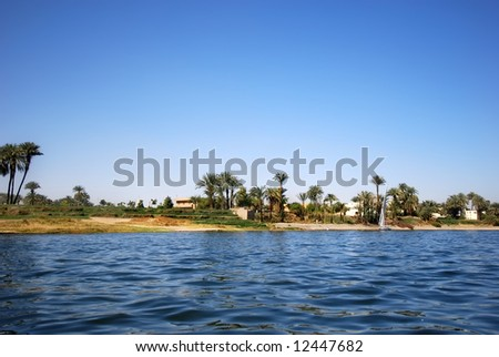 View on the coastline of the egyptian nile