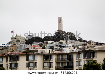 View on the Coit Tower on Telegraph Hill in San Francisco, California, USA.