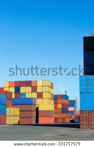 View on the container terminal of Antwerp world port (all brands and logos have been removed) - stock photo