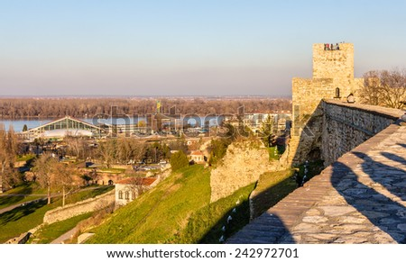 View on the Danube from Belgrade Fortress - Serbia - stock photo