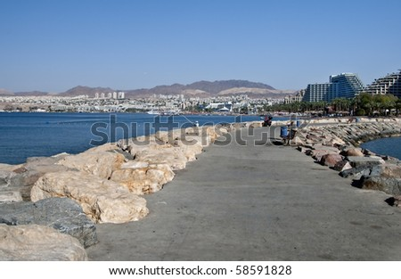 View on the Eilat city from the northern beach - stock photo