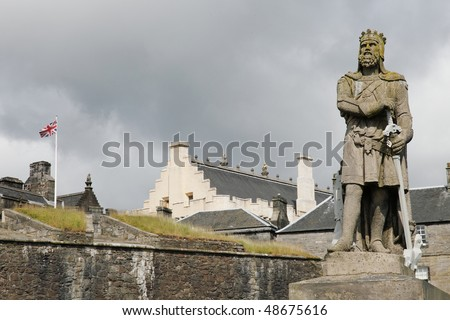 view on the entrance of the castle of stirling. Scotland - stock photo