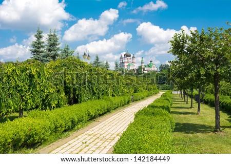 View on the Female St. Panteleimon Monastery in the park Feofania. Kiev, Ukraine - stock photo