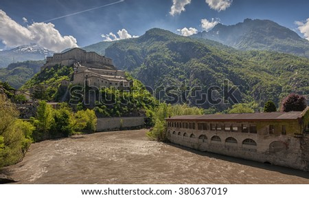 View on the Fortress of Bard, Aosta Valley, Italy