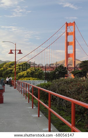 View on the Golden Gate Bridge from a sidewalk - stock photo