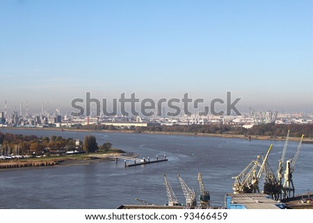View on the harbor of Antwerp - stock photo