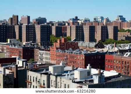 View on the Harlem housing projects and modern buildings - stock photo
