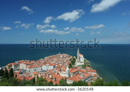 View on the historical city of Piran, Slovenia. - stock photo