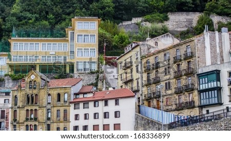 View on the houses of san Sebastian near the harbor - stock photo