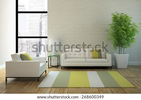View on the interior in skyscraper 3D rendering - stock photo
