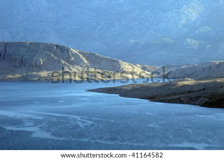 View on the island of Pag in Croatia - stock photo