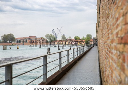 View on the lagoon of Venice from the Arsemale