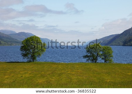View on the Loch Ness from Fort Augustus - stock photo