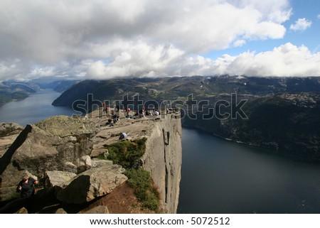 View on the Lysefjord, Norway, from Preikestolen - stock photo