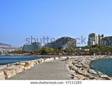 View on the main resort buildings in Eilat - stock photo