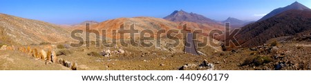 View on the maintans landscape in Fuerteventura. Location closed to the observatory. Panorama format.