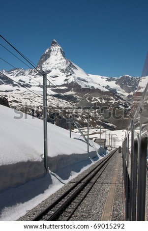 View on the Matterhorn from the Gornergrat railway in early summer - stock photo