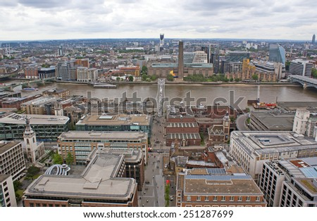 View on the Millenium bridge from the top of St. Paul's cathedral. - stock photo