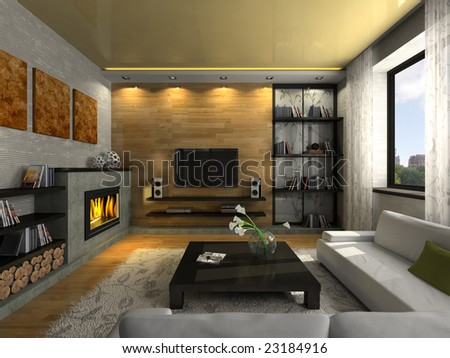 View on the modern apartment with fireplace 3D. Photo in the magazine was made by me, I uploaded model's release